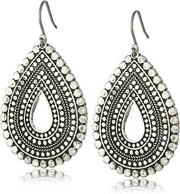"""Amazon.com: Lucky Brand """"Blue Moon"""" Trial Tear Drop Earrings: Jewelry"""