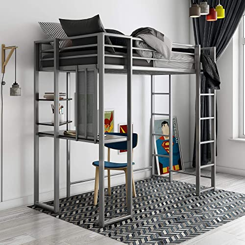 DHP Abode Loft Bed, Silver, Twin