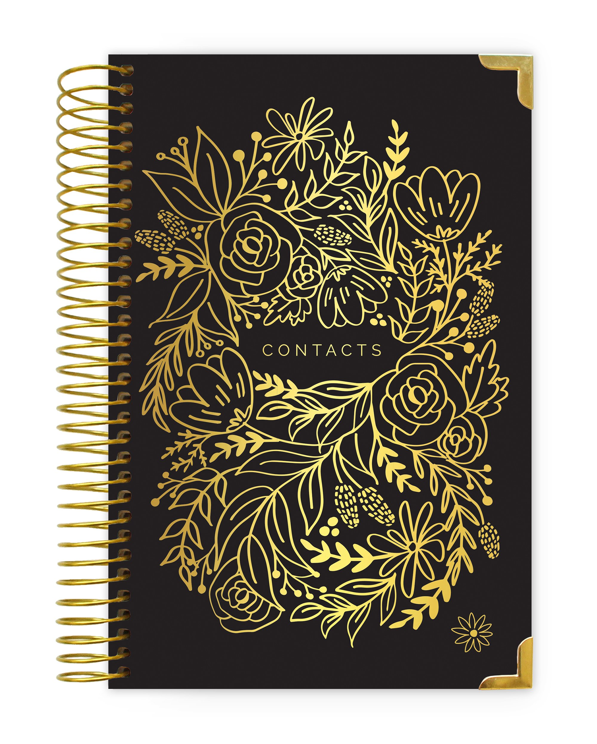 Bloom Daily Planners New Hard Cover Contacts/Address Book - 6'' x 8.25'' - Black & Gold Embroidery