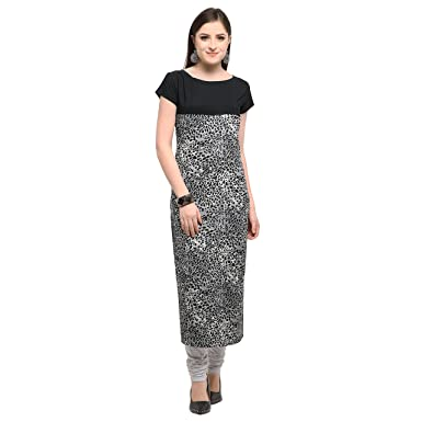 de6b5f9637 NAVALEE NAR Black and White Animal Print Casual Kurti for Womens (Medium  Size)