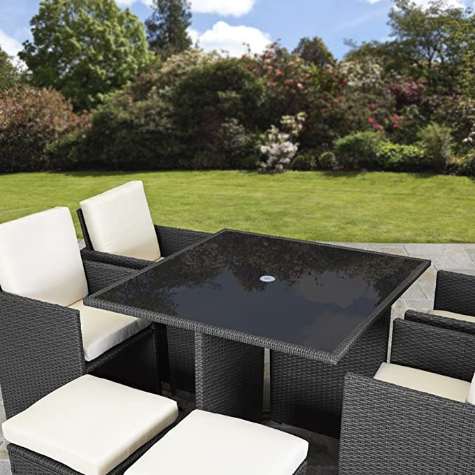 rattan cube garden furniture set 8 seater outdoor wicker 9pcs black rh amazon co uk