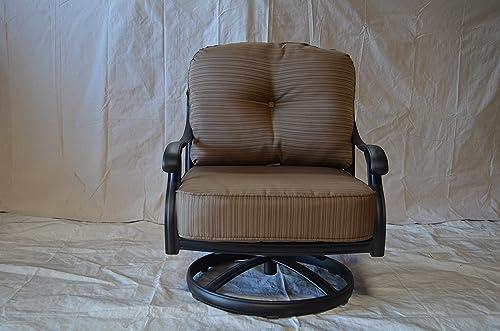 Elizabeth Outdoor Patio 4 Swivel Rocker Club Chairs Cast Aluminum Dark Bronze, Walnut Cushions