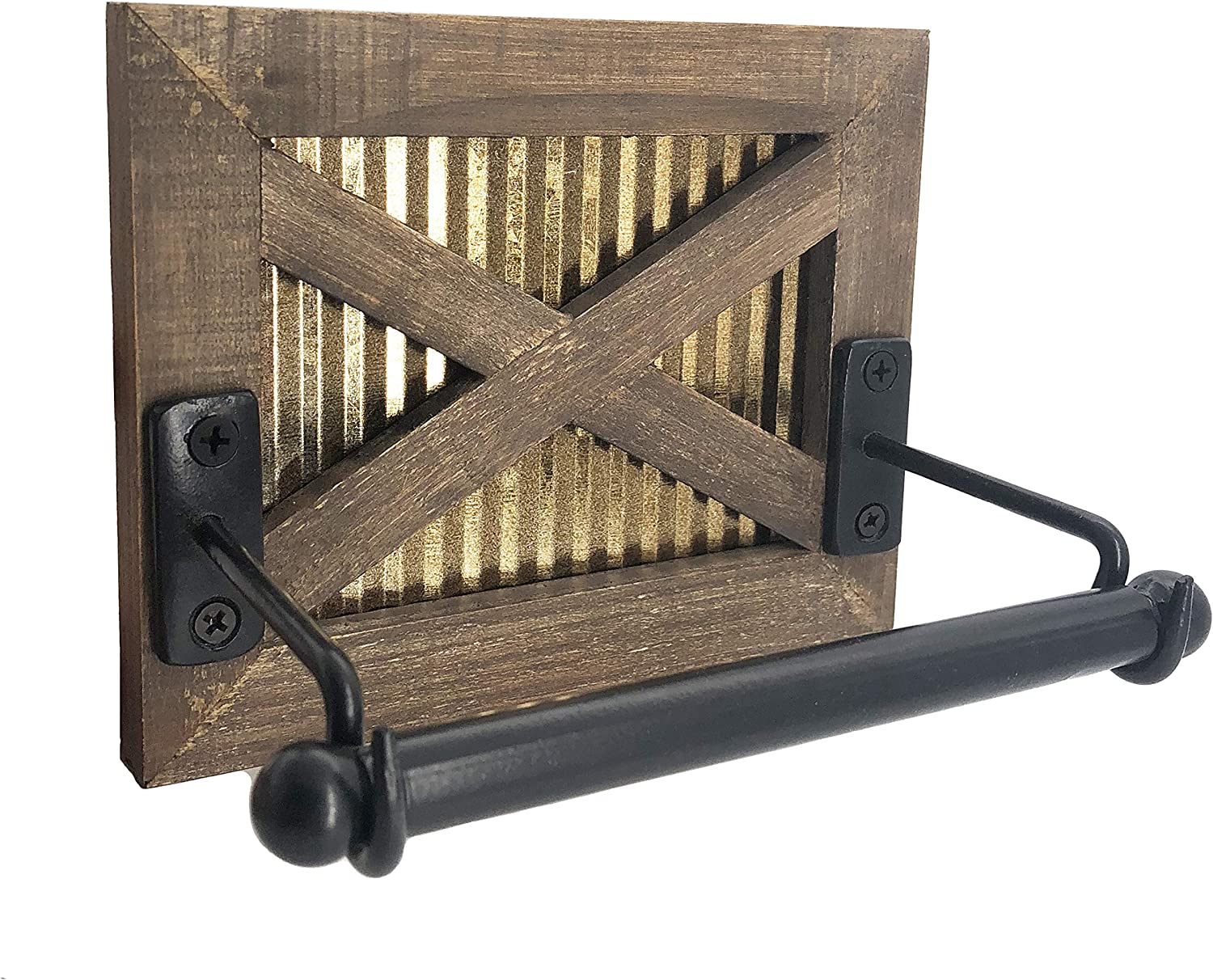 Autumn Alley Rustic Farmhouse Barn Door Toilet Paper Holder | Constructed of Warm Brown Wood, Corrugated Metal and Black Metal | Adds Functional Farmhouse Charm to Your Bathroom