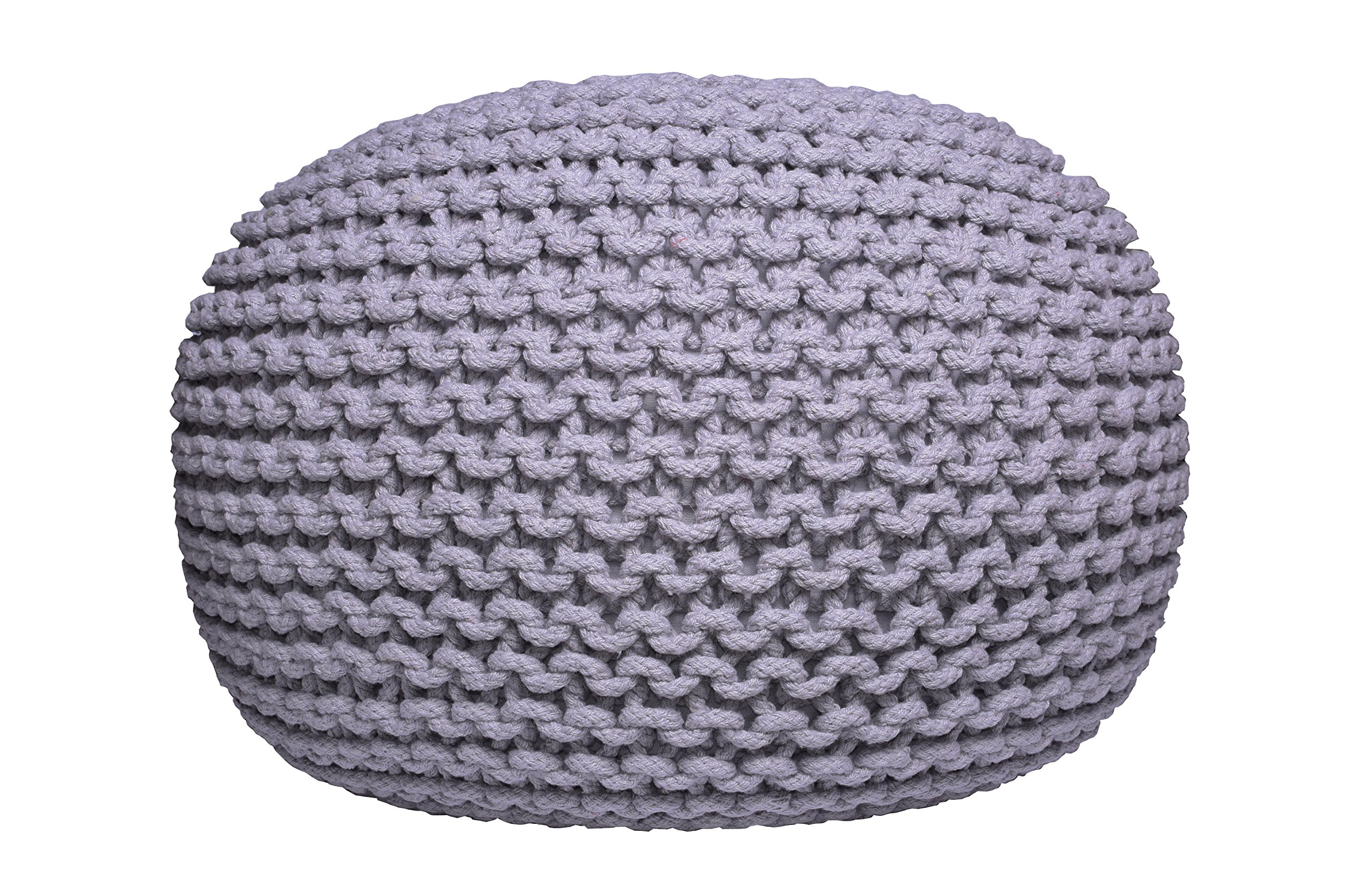 Pouf Ottoman Gray Round Hand Knitted Cable Style Cotton Dori ottoman Braided Rope Floor Ottomans Comfortable Seat Footstool Gray 16''x 20'' By MystiqueDecors