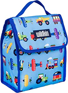Wildkin Kids Insulated Lunch Bag for Boys and Girls,Lunch Bags Ideal Size for Packing Hot or Cold Snacks for School and Travel, Mom's Choice Award Winner,BPA-Free,Olive Kids(Trains, Planes and Trucks)