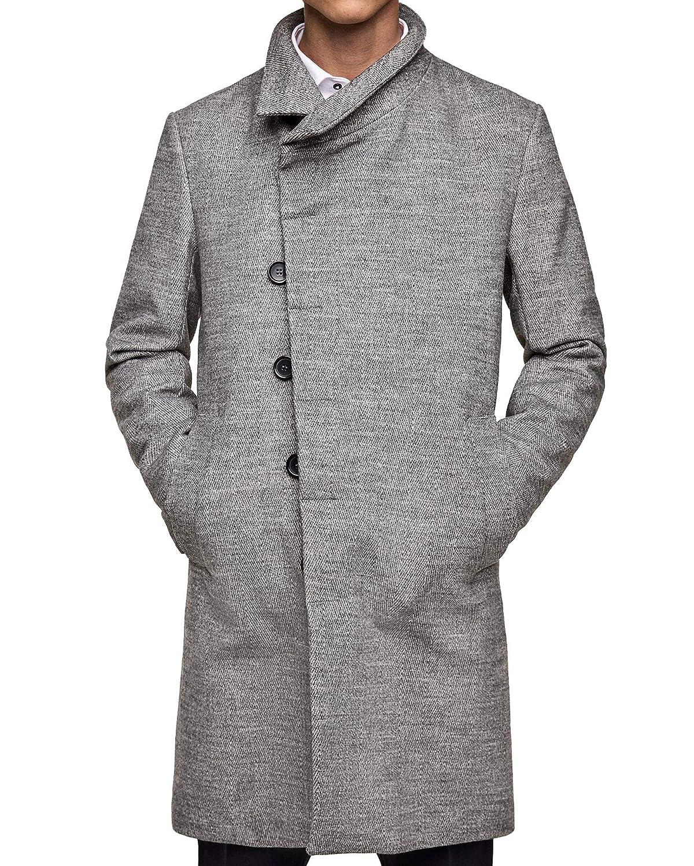 Zara Men Coat with Asymmetrical Collar 0706 471 (Small) Grey at Amazon  Men s Clothing store  20d1dd41b8683