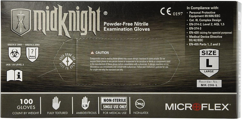 Microflex (MFXMK296L) MidKnight Black Powder-Free Nitrile Examination Gloves - Large, 100ct.