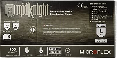 Microflex (MFXMK296L) MidKnight Black Powder-Free Nitrile Examination Gloves - Large, 100ct.