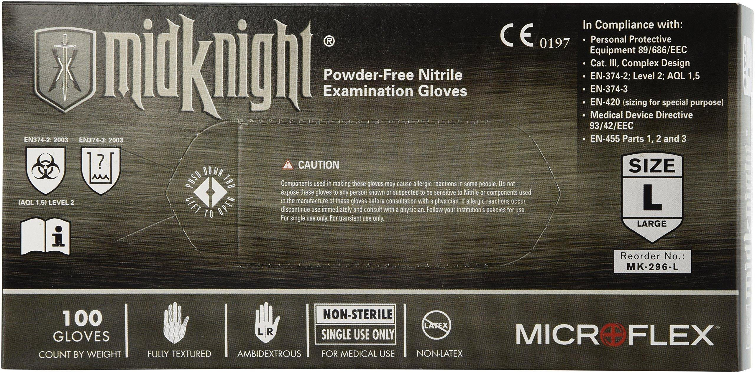 Microflex (MFXMK296L) MidKnight Black Powder-Free Nitrile Examination Gloves - Large, 100ct. by Microflex (Image #2)