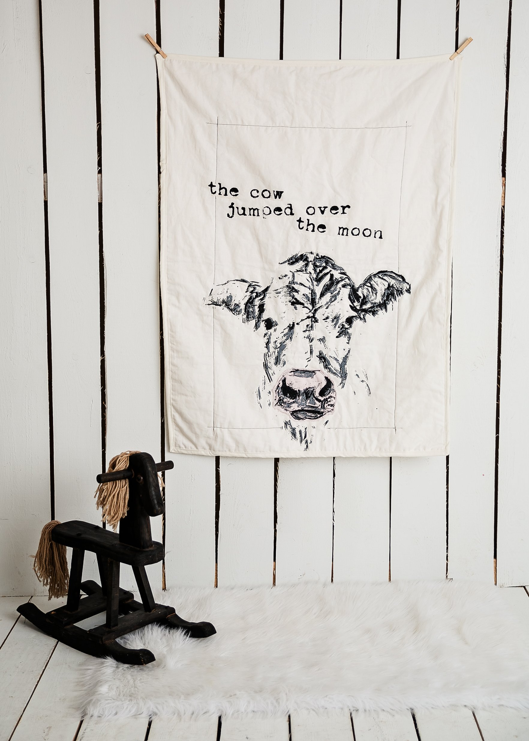 The cow jumped over the moon - Linen Crib Quilt Baby Bedding - 36x45