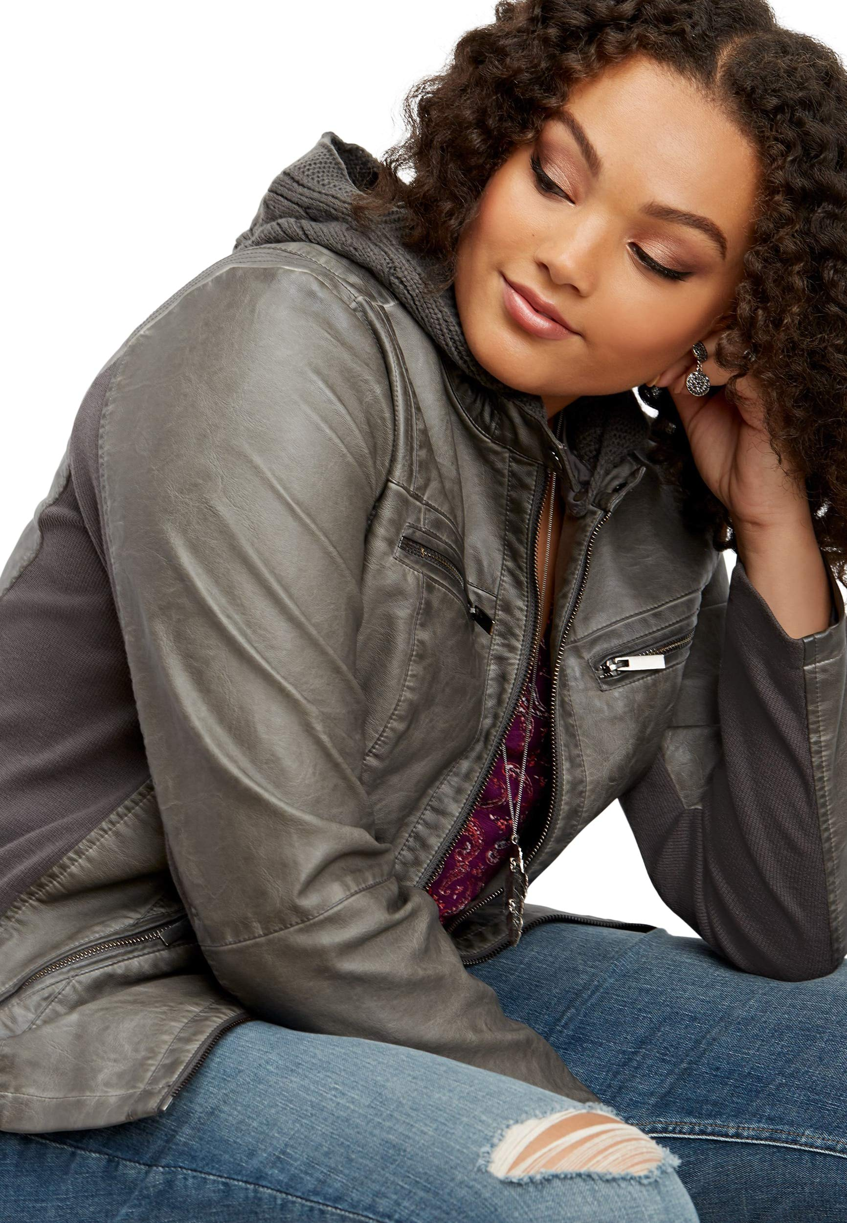 maurices Women's Plus Size Cable Knit Hood Faux Leather Jacket 2 Gray