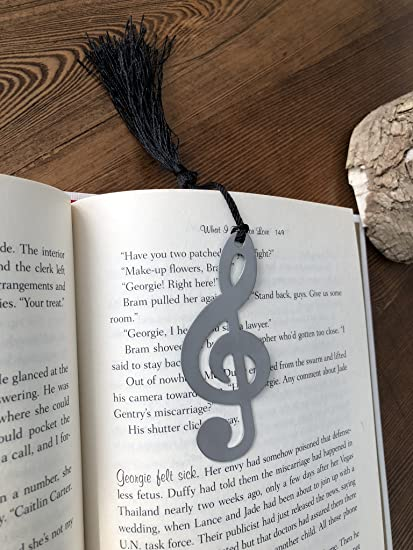 Alchik Musical Note Bookmarks W Black Tassels Mini Metal Music Symbols And Trendy Greeting Cards