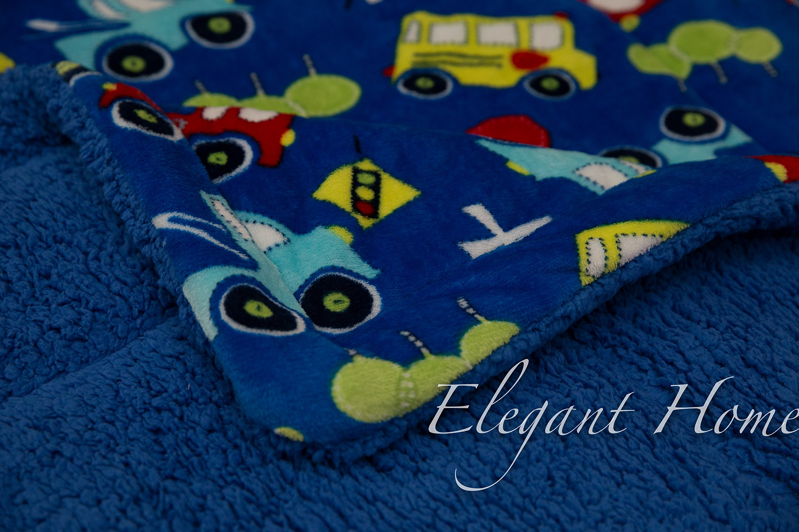 Elegant Home Kids Soft & Warm Sherpa Baby Toddler Boy Sherpa Blanket Multicolor Cars Trucks Buses Printed Borrego Stroller or Toddler Bed Blanket Plush Throw 40X50 # Cars by Elegant Homes