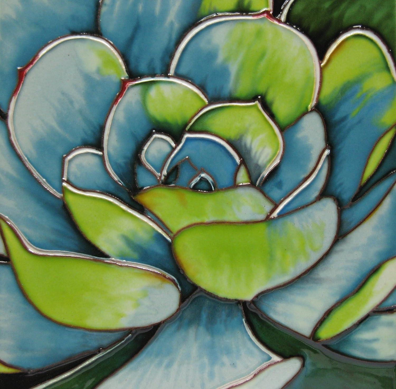 Continental Art Center 8x8 Art Tile-Green and Blue Succulent