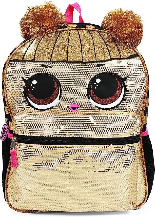 LOL Surprise School Bookbag Mini Backpack Purple Pink Gold Queen Bee L.O.L.