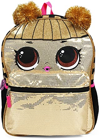 "Headband Doll Series 5 1 LOL Surprise Queen Bee 16"" Large Gold School Backpack"