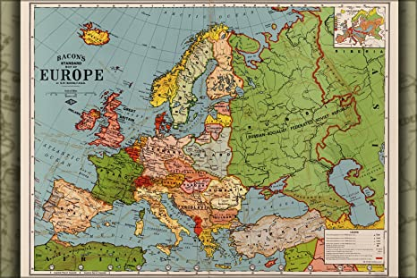 Map Of Germany France.Amazon Com 20x30 Poster Map Of Europe Spain France Germany Italy