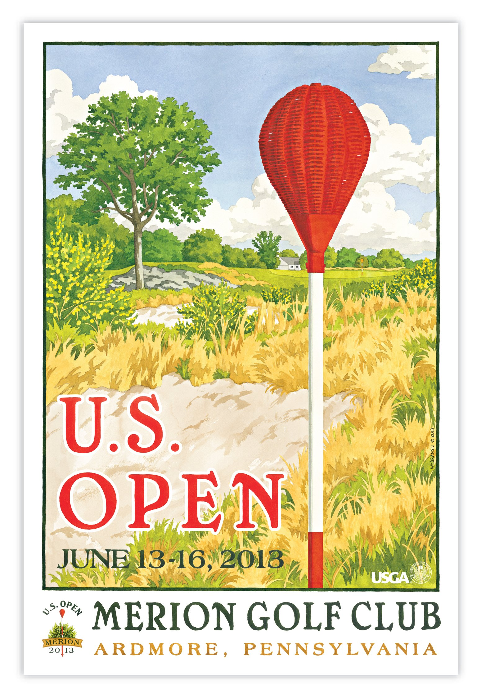 Signed 2013 U.S. Open Merion Print by Lee Wybranski