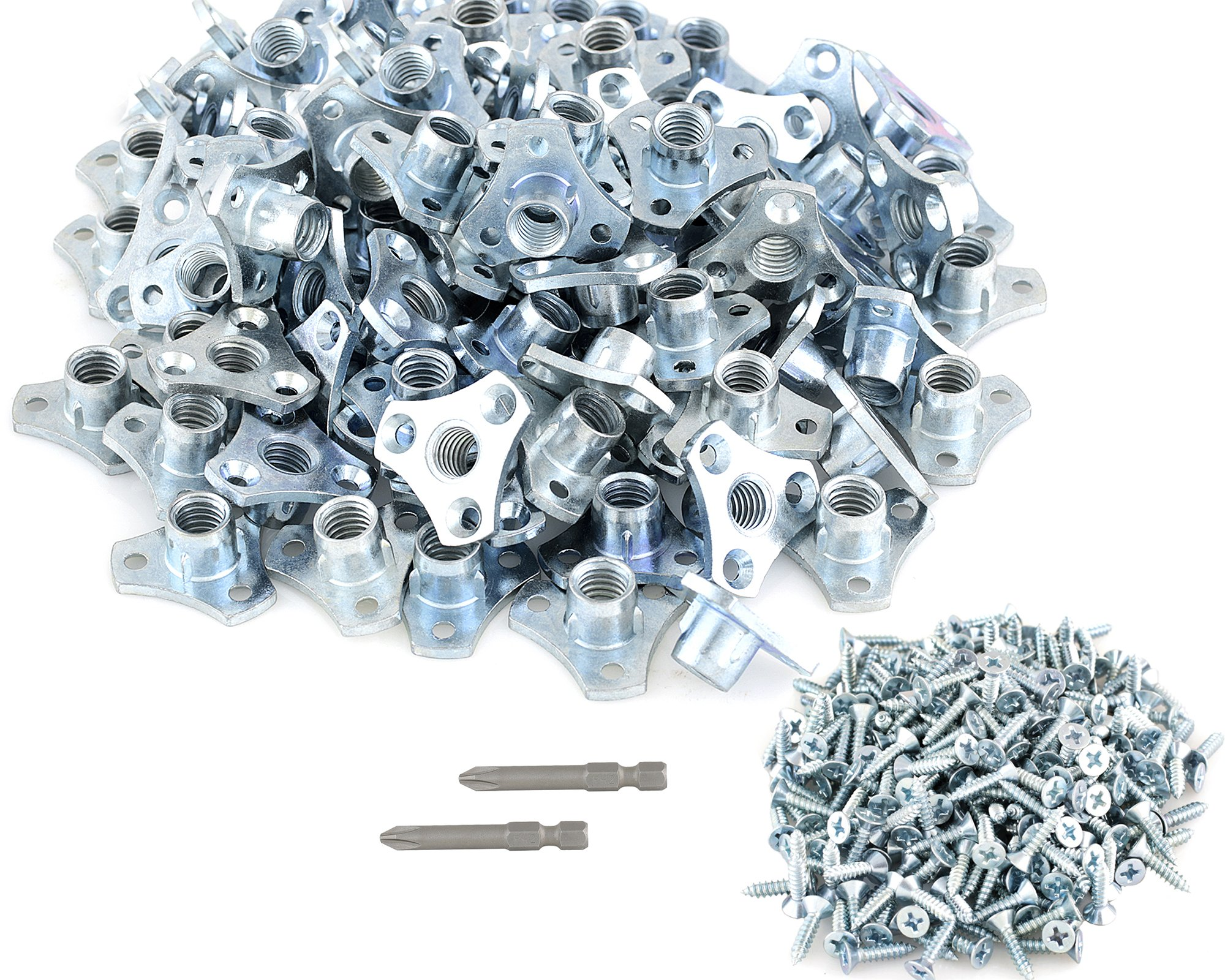 (96-Pack) 3/8-16 Screw-on Tee Nut Kit - T-Nuts Come with Screws and (2) #2 Phillips Power Bit