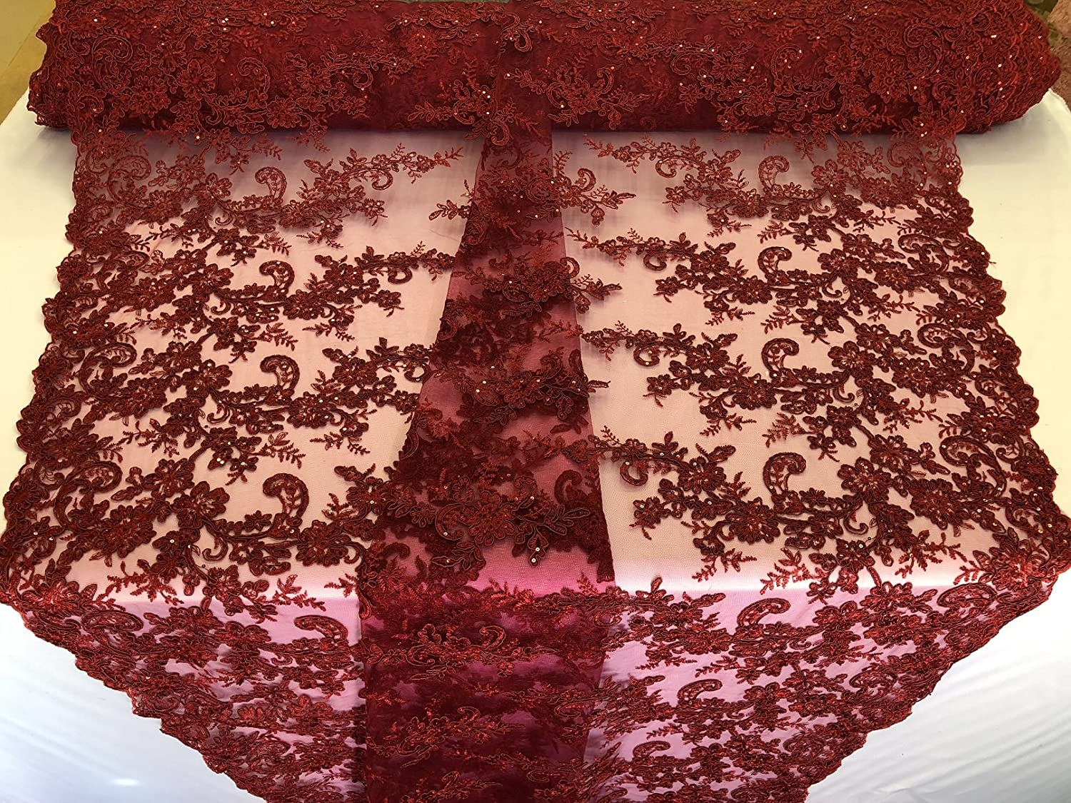 Burgundy Flower Plant Lace Iridescent Sequins Decor Fabric Elegant Embroidered Cluster Flower Leaf Mesh Elegant Lace Fabric Sold by The Yard
