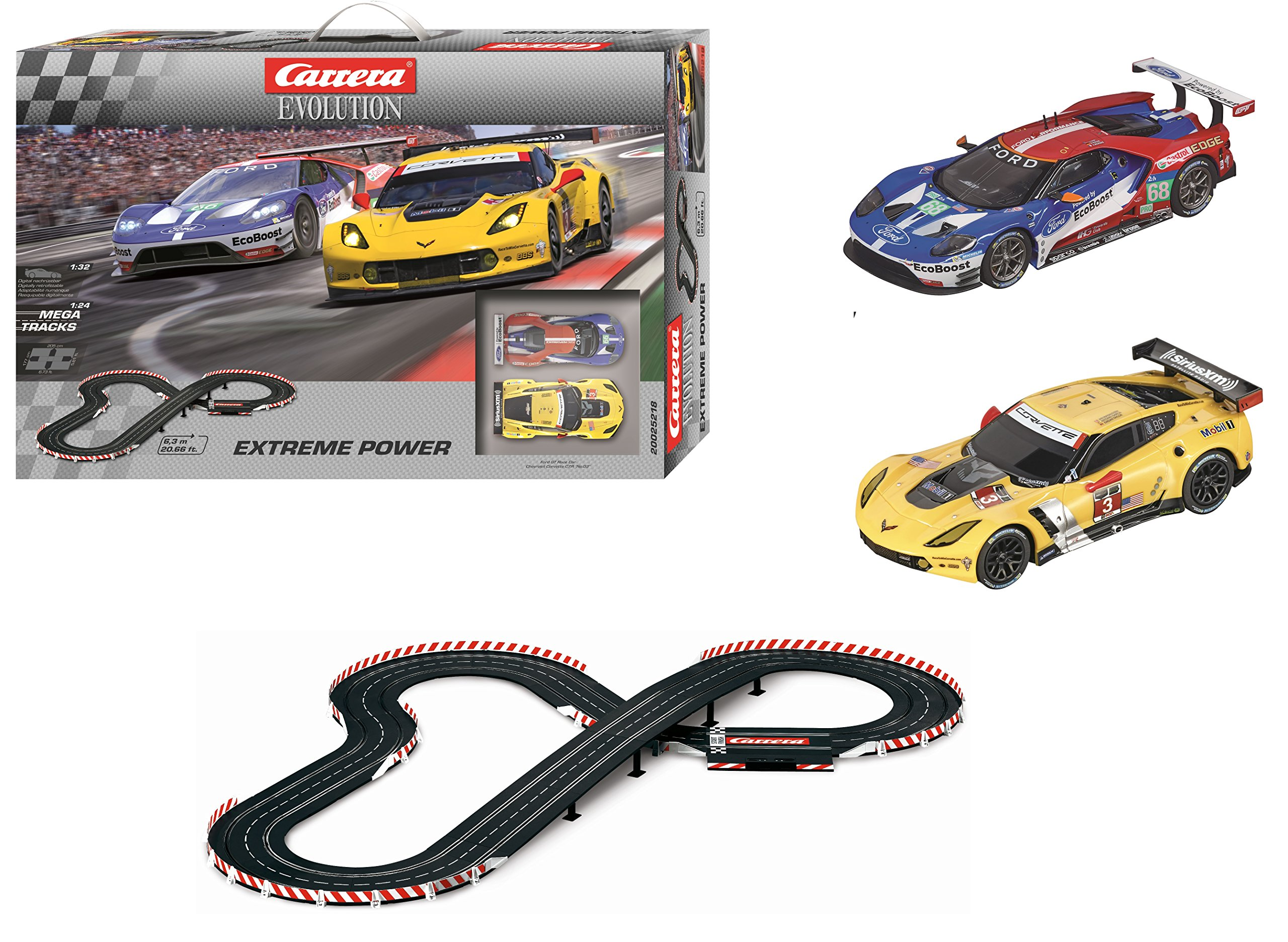 Carrera Evolution 20025218 Extreme Power Analog Electric 1: 32 Scale Slot Car Racing Track Set System