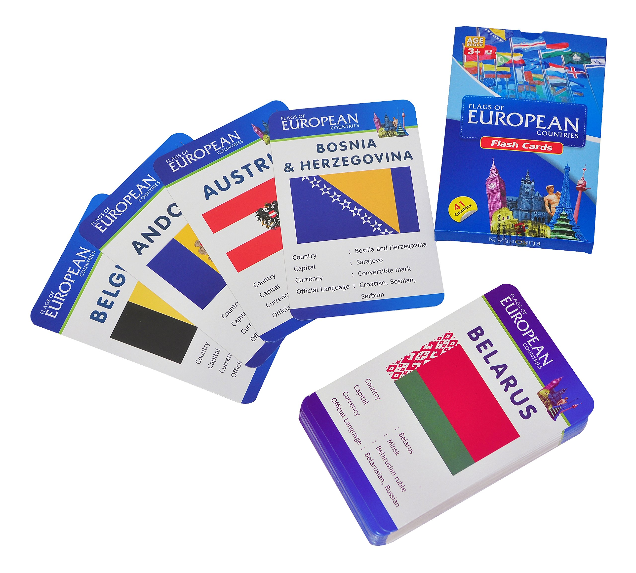 Baski Toys Flags of European Countries - Flash Cards (10 cm x 15 cm x 1.5 cm) product image