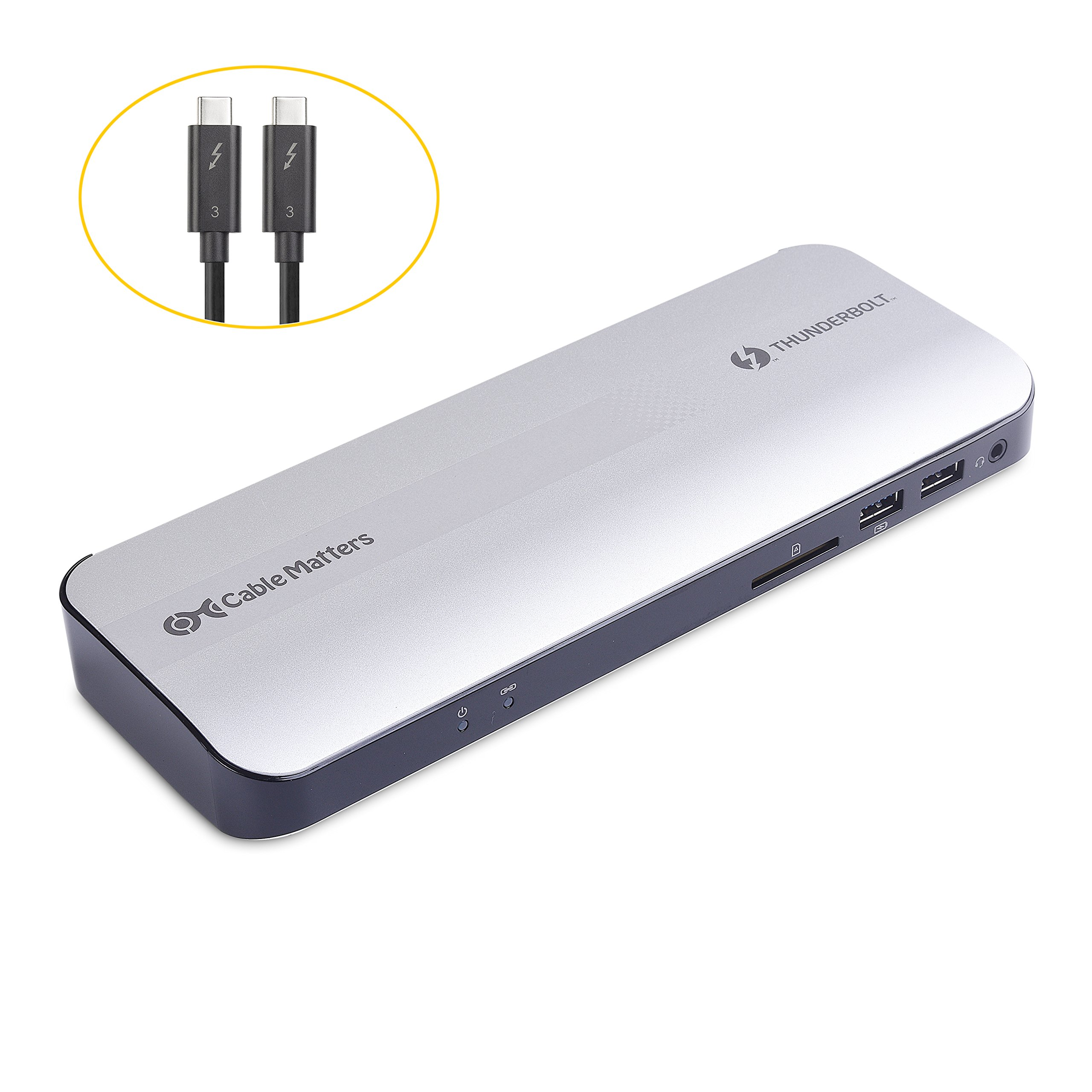 [Certified] Cable Matters Aluminum Thunderbolt 3 Docking Station with Dual 4K 60Hz Video and 60W Power Delivery for Windows & Mac (Not Compatible with USB-C Ports without the Thunderbolt Logo) by Cable Matters (Image #1)