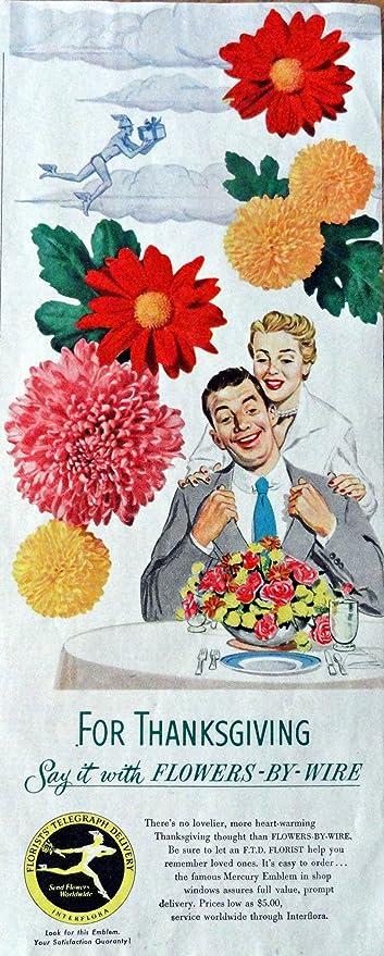 Amazon com: FTD Florist, 50's Print Advertisment  Color Illustration