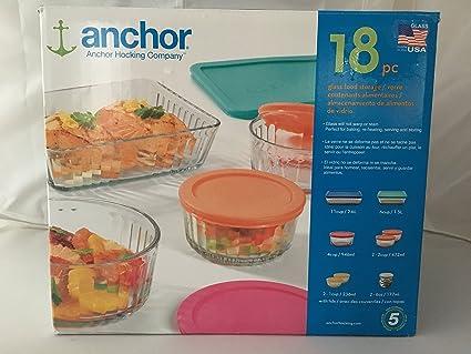 Amazon Com Anchor Hocking 18 Piece Glass Food Storage Set Kitchen