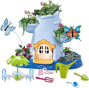 CONII Kids | Fairy Garden Kids Gardening Kit - Indoor Outdoor Gardening Set for Kids with Soil, Gardening Seeds, Mini Gardening Tools - Kids Planting Kit with Flittering Lights and Music (Blue)