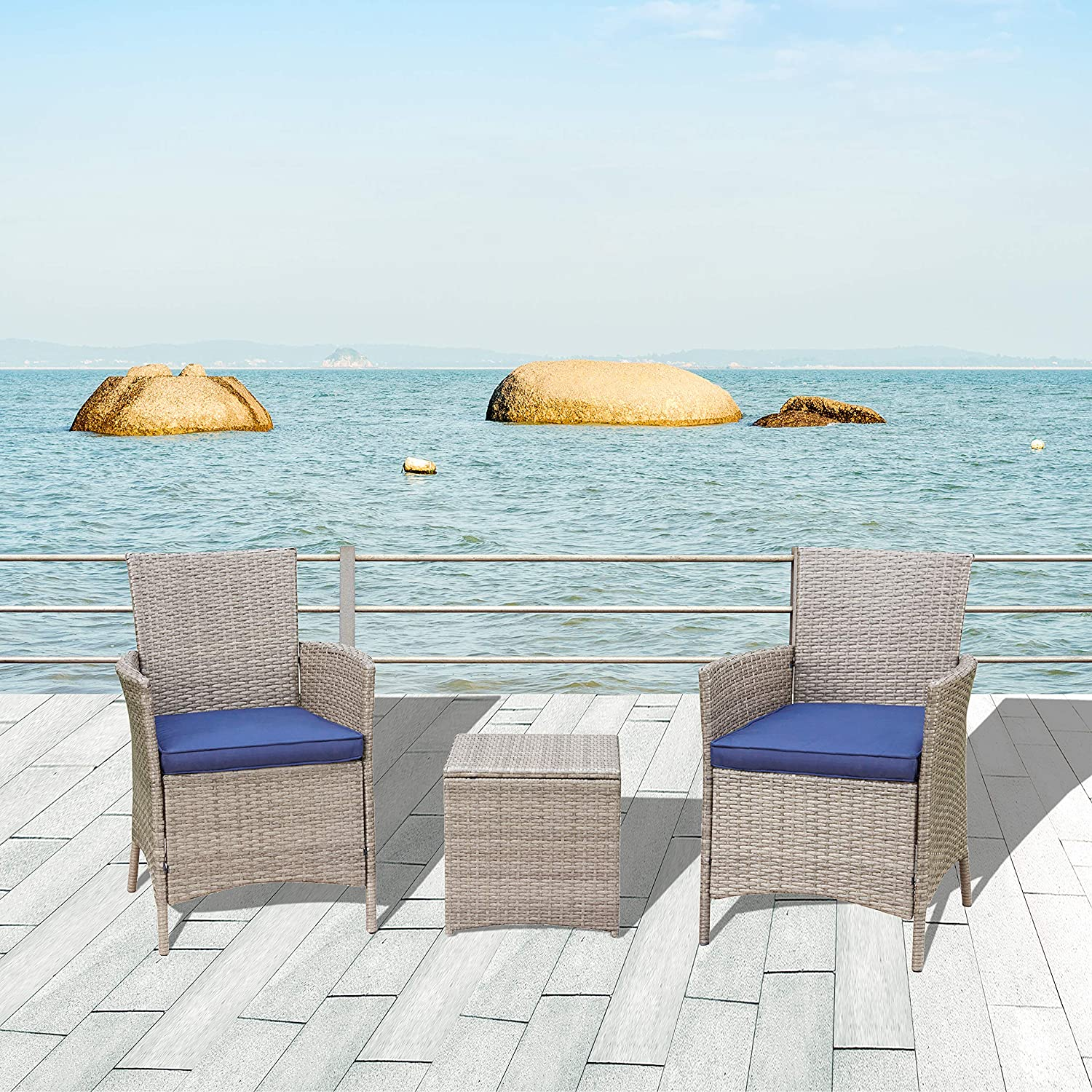 LOKATSE HOME 3 Pieces Patio Furniture Outdoor Wicker Conversation Bistro Chairs Set with Rattan Coffee Table, Blue Cushion