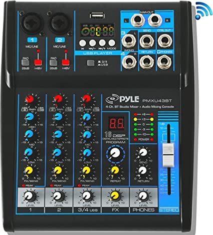 Amazon.com: Pyle DJ Mixer (PMXU43BT.5): Musical Instruments