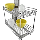 Lynk Professional Double Drawer Pull Out Two Tier Sliding Under Cabinet Organizer, 11w x 18d x 16h -inch, Chrome