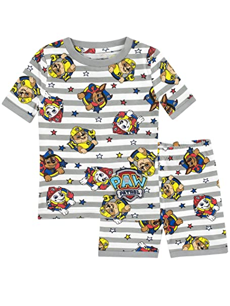 Paw Patrol Boys Chase Marshall and Rubble Pajamas Size 7 Multicolored