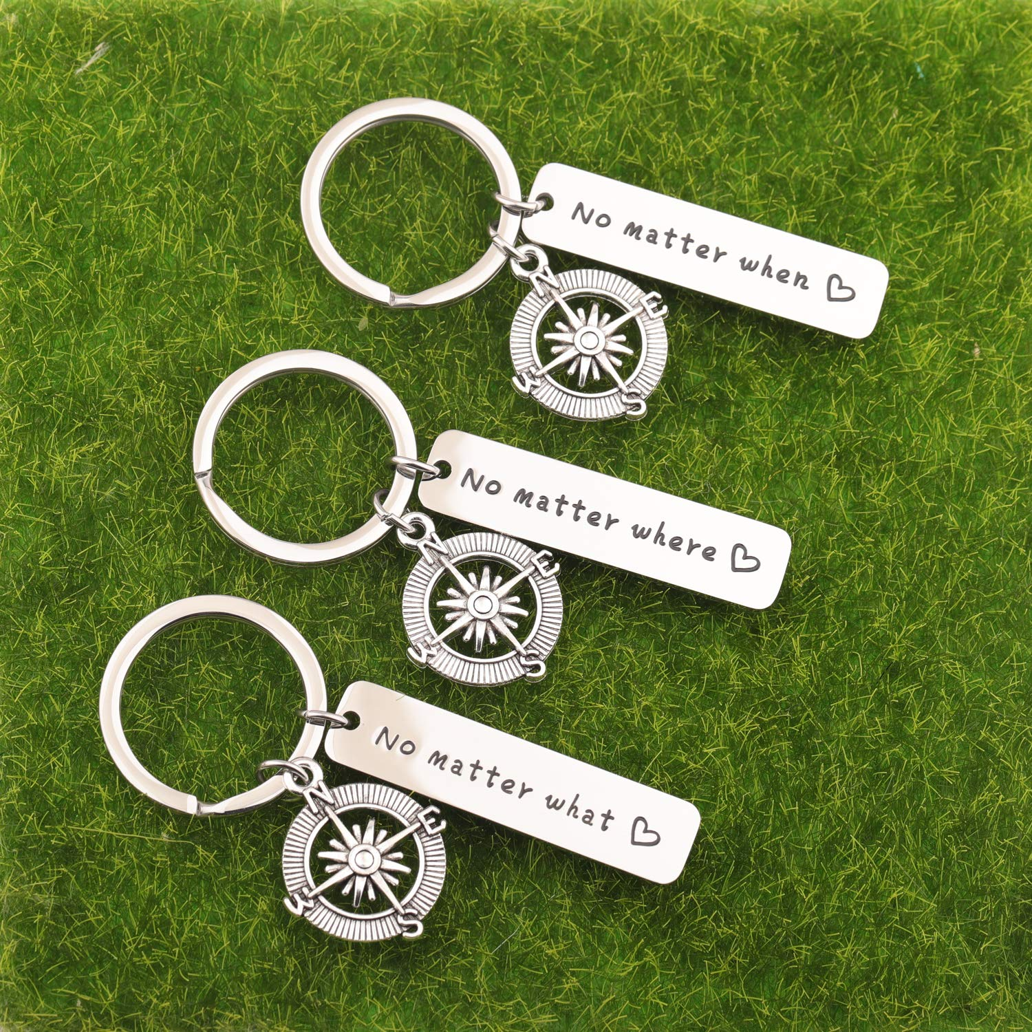 WUSUANED No Matter When Compass Best Friend Keychain Set Long Distance Friendship Gift for Sister Best Friends