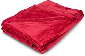 BIRDROCK HOME Internet's Best Plush Throw Blankets - Burgundy (Red) - Ultra Soft Couch Blanket - Light Weight Sofa Throw - 100% Microfiber Polyester - Easy Travel - Bed - 50 x 60