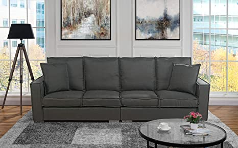 Extra Large Living Room Linen Fabric Sofa, 4 Seat Couch (Dark Grey)