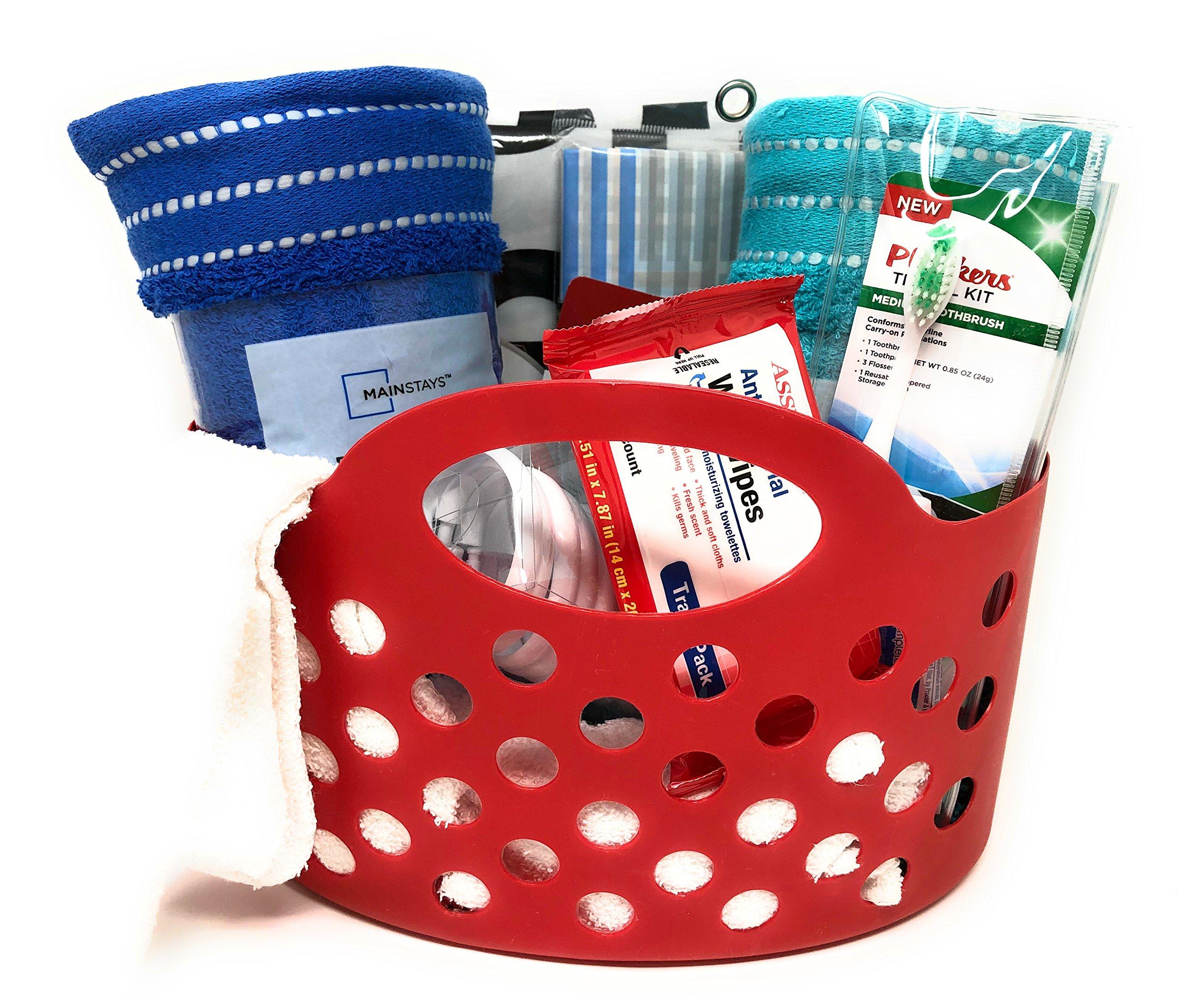 Ropeastar Travel Bathroom Essentials Kit, Laundry Bag With Plastic Waterproof Tote Bag Caddy for College Dorm Gym Camp, Bath & Shower Bundle, Graduate, Truckers (Printed Wash Me Bag)