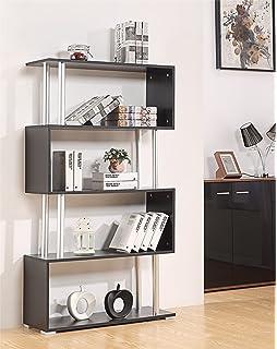 S Shape Storage Display Unit Wood Bookcase Bookshelf 6 Shelf Home Furniture Unit