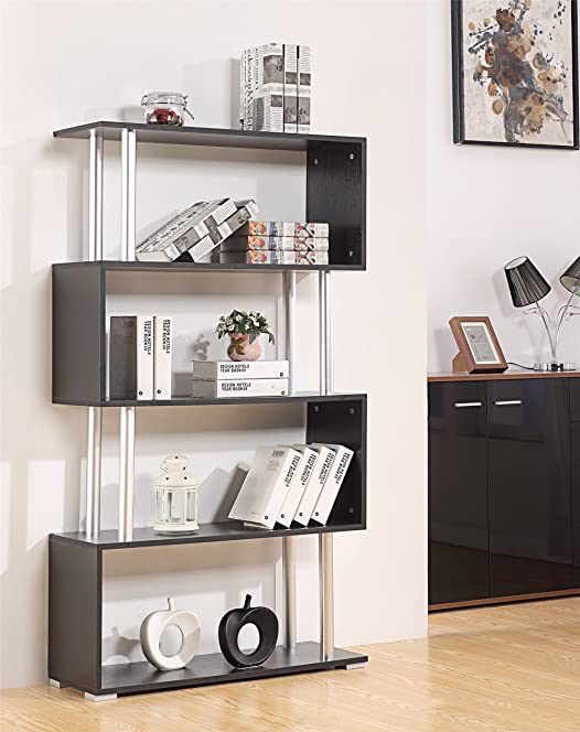 Ossotto S Shape Storage Unit Bookshelf Bookcase Home Or Office Furniture Black