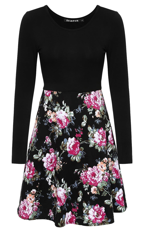 DKBAYA Damen Langarm Kleid Printkleid A-Linie mit Blumendruck Floral ...