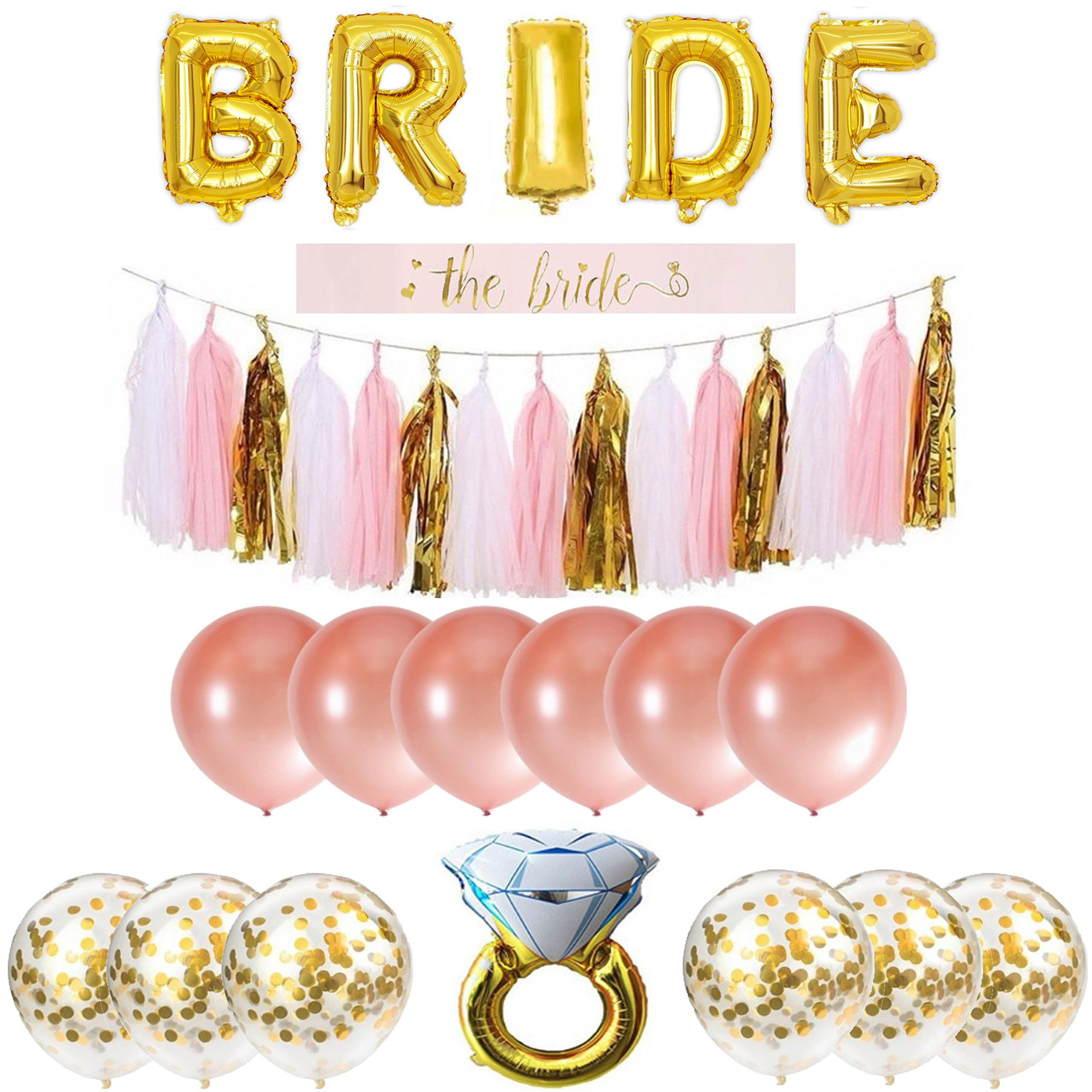 Bachelorette Party Decorations Pack Includes: Gold Foil Bride Balloon Banner Garland, Bride to be Sash + Rose Gold & Gold Confetti Balloons + Diamond Ring Balloon + Cute Bachelorette Tassel Banner  by Party Simple