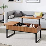 WLIVE Wood Lift Top Coffee Table with Hidden Storage Compartment, Side Drawer and Metal Frame, Lift Tabletop Dining…