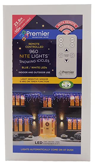 remote control snowing icicle lights nite lights 960 leds christmas lights blue
