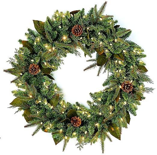 amazoncom gkibethlehem lighting pre lit pepvc christmas wreath with 100 clear mini lights 30 green river spruce home kitchen amazoncom gki bethlehem lighting pre lit