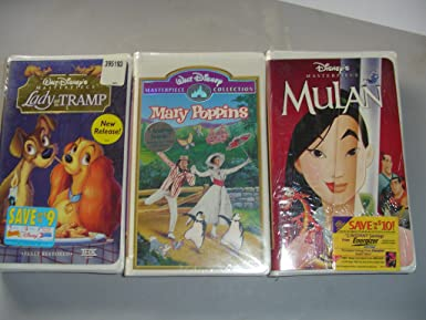 Amazon Com Walt Disney Vhs Tapes Mary Poppins Lady And The Tramp Mulan Movies Tv