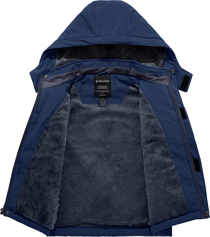 Wantdo Boy's Waterproof Ski Jacket Mountain Fleece Snow Coat Thicken Winter Coats Hooded Raincoats: Clothing