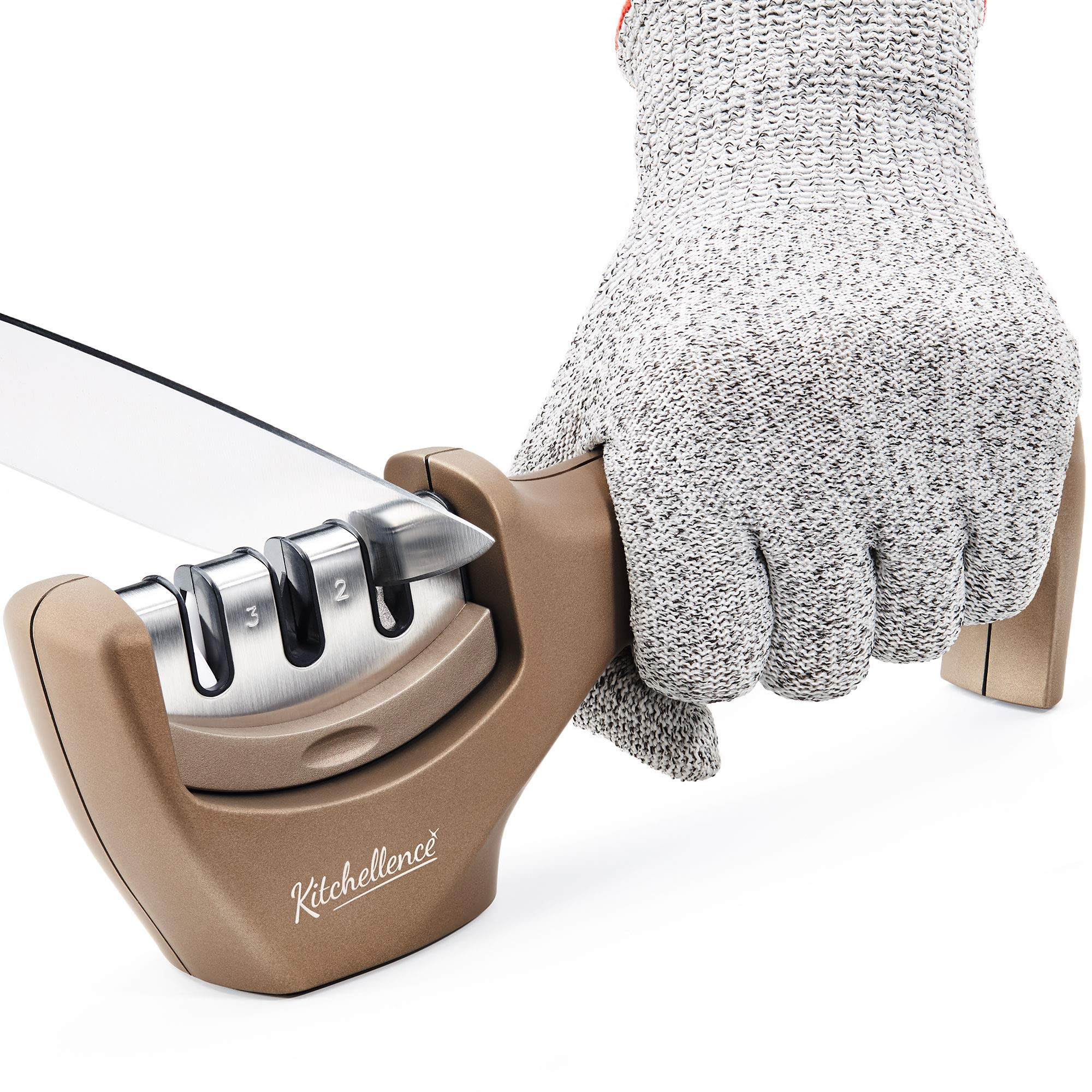 Kitchen Knife Sharpener - 3-Stage Knife Sharpening Tool Helps Repair, Restore and Polish Blades - Cut-Resistant Glove Included (Tan) by Kitchellence