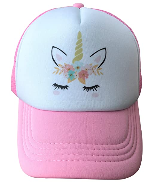 8719287b3 Pink Unicorn Trucker Cap Hat for Kids Girls with Mesh Back