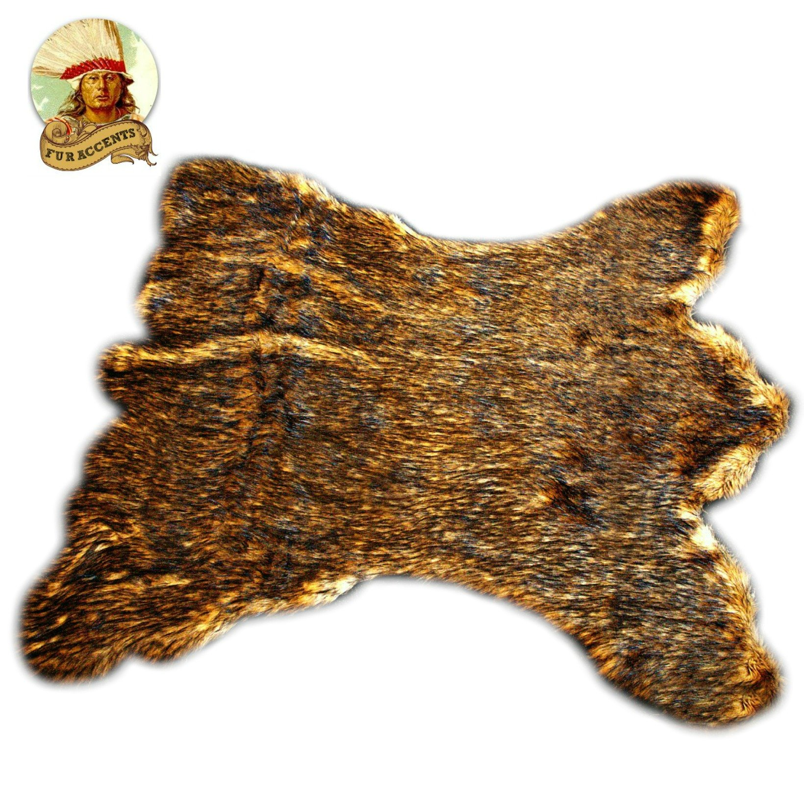 Golden Brown Alaskan Kodiak Bear Skin Throw Rug - 5x6 Quality - Fur Accents = Faux Fur Pelt Rug - Americana Collection - Designer Throw Carpet - Wolf - Buffalo - Coyote